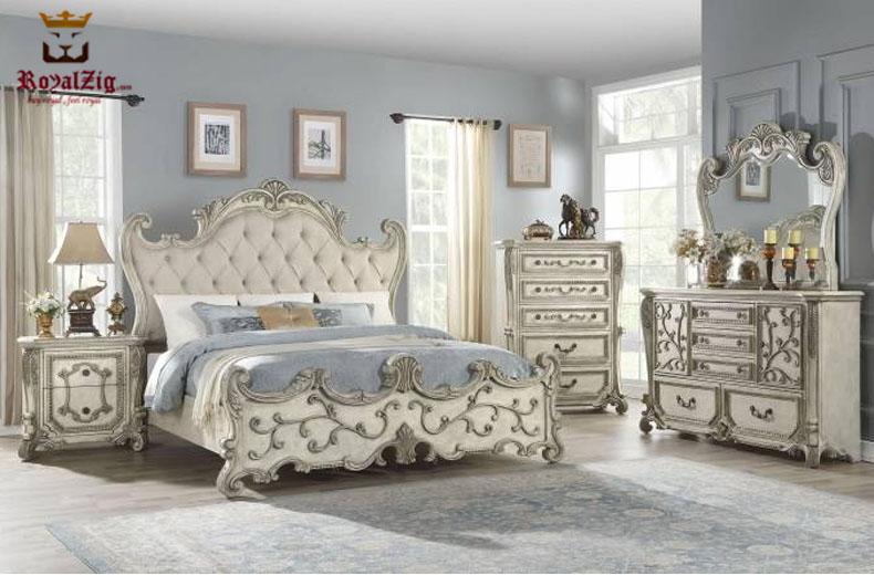 Designer Teak Wood Antique Collection, Teak Queen Bedroom Set