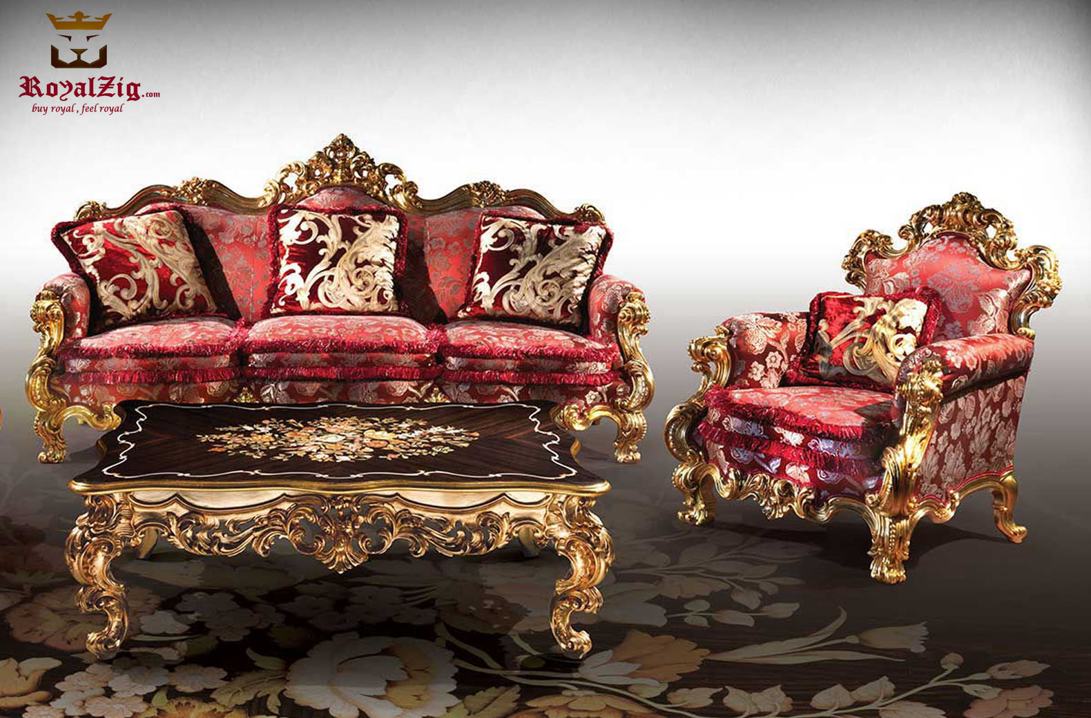 European Style Heavy Carving Golden Sofa Set