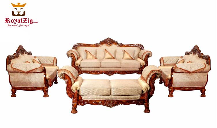 Maharaja Style Cherry Finish Royalzig Sofa Set