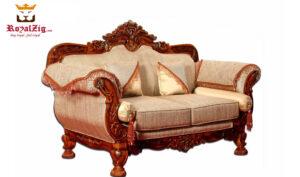 maharja style cherry finish roylzig sofa set