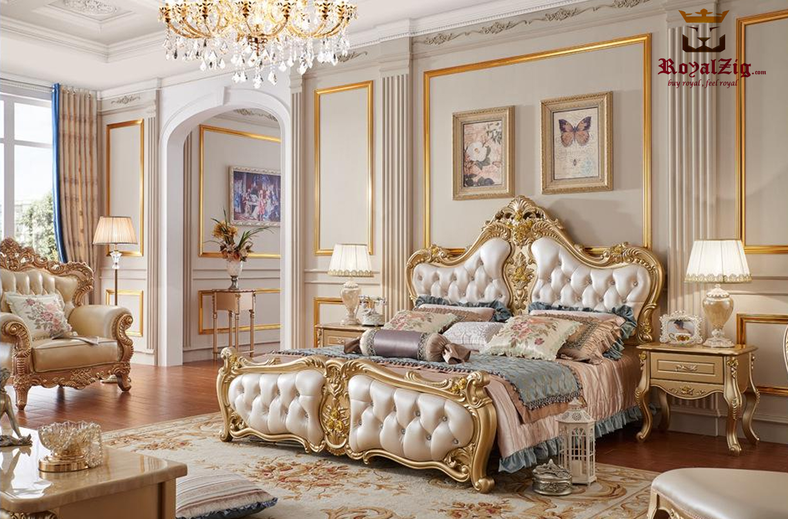 Luxury Gold Carving Bed 3