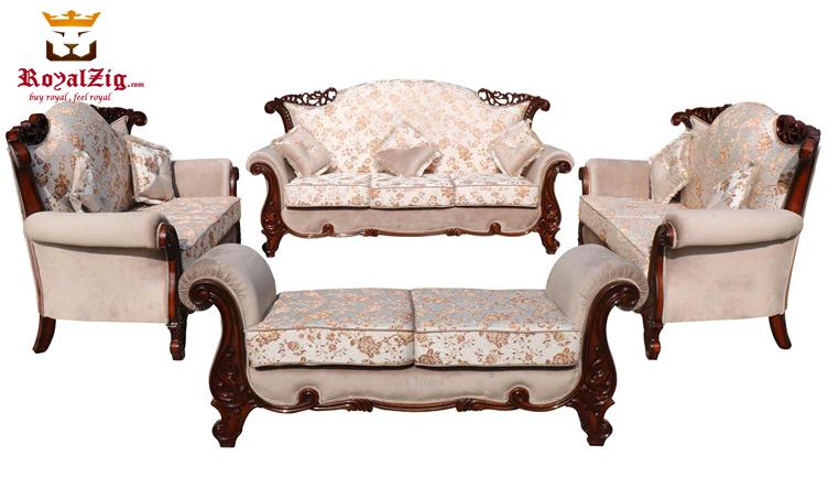 Nugambakkam Walnut 7 Seater Sofa Set