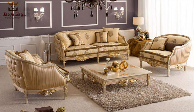 Royal Luxury Classic Style Golden Sofa Set