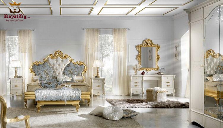 Royal Luxury Teak Wood Bedroom Set Furniture India