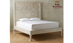 Wooden hand carved king size panel bed frame (2)