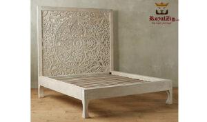 Wooden hand carved king size panel bed frame (3)