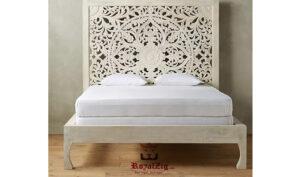 Wooden hand carved king size panel bed frame (4)