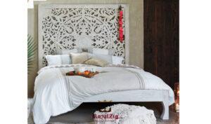 Wooden hand carved king size panel bed frame (7)