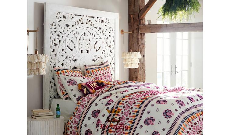 Wooden hand carved king size panel bed frame