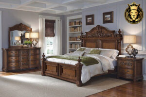 Antique European Style Rosewood Carved Bed Online in India