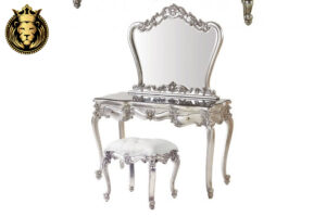 Baroque French Style Silver Color Bedroom Set