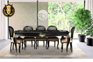 Beautiful Black And Gold Finish Baroque Style Dining Table Online in India