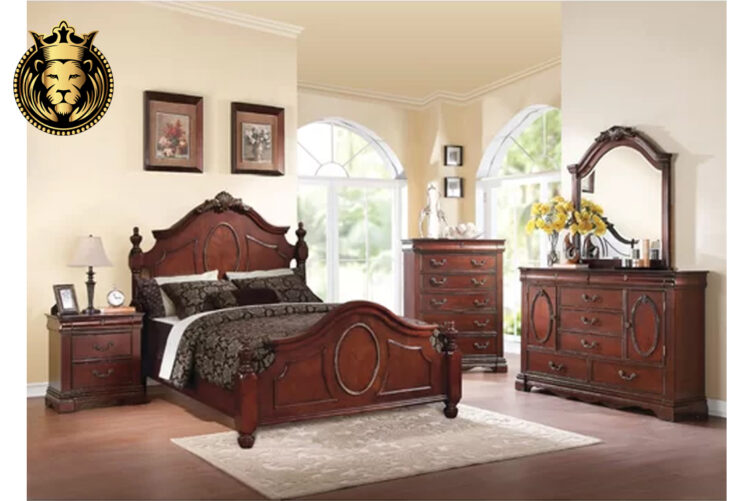 Beautiful Victorian Style Cherry Finish Bedroom Set online in India