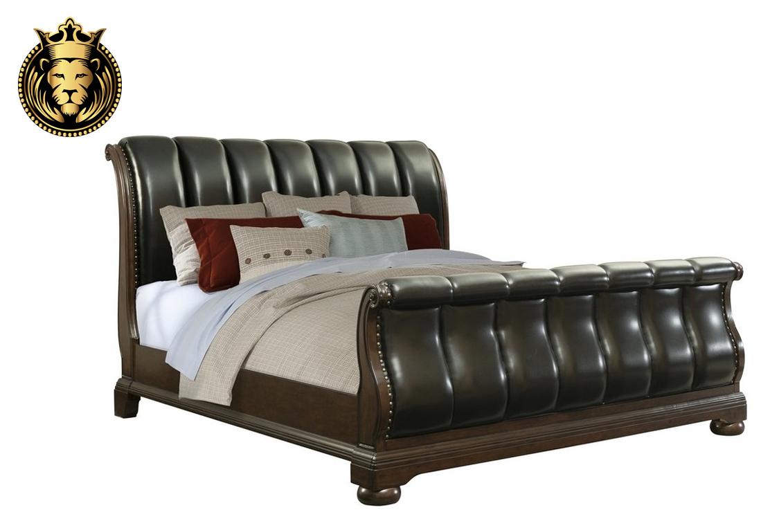 Black Leather Tufted Teak Wood Sleigh Bedroom Set