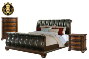 Black Leather Tufted Teak Wood Sleigh Bedroom Set
