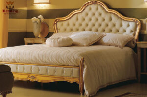 Chandigarh Classic Style Golden Wooden Bed 2