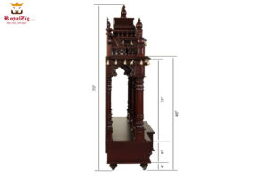 Dark Walnut Finish Badrinath Temple Design 1