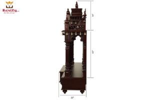 Dark Walnut Finish Badrinath Temple Design 2
