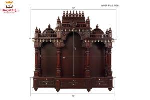 Dark Walnut Finish Badrinath Temple Design 3