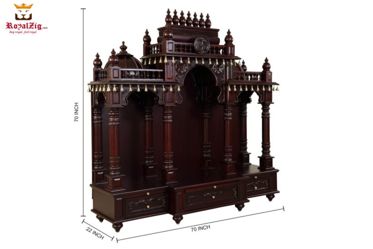Dark Walnut Finish Badrinath Temple Design