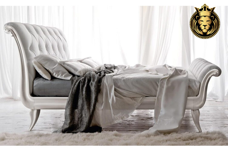 Gorgeous Modern Luxury White Sleigh Bed Online in India