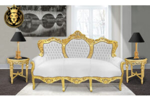 Hand Carved Baroque Style Golden Sofa Online in India