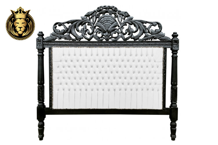 Hand Carved Black Baroque Bed Frame Online in India