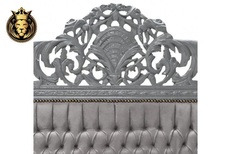 Hand Carved Grey Baroque Bed Frame Online in India
