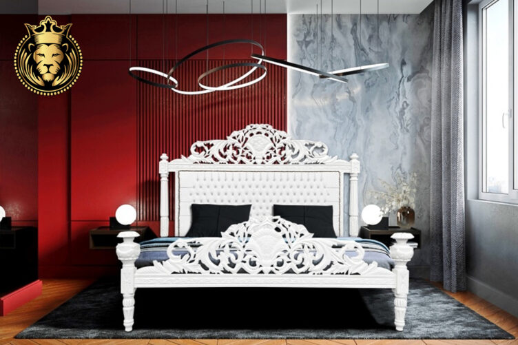 Hand Carved White Baroque Bed Frame Online in India