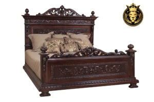 Markie Victorian Antique Style Teak Wood Walnut Bed