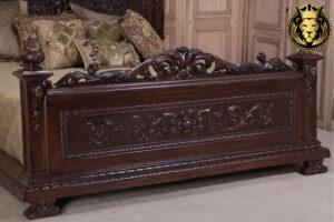 Markie Victorian Antique Style Teak Wood Walnut Bed