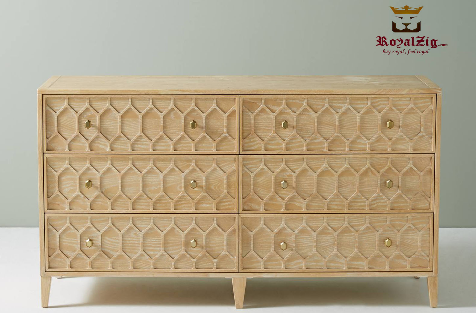 Moroccan Style Carved Drawers Dresser