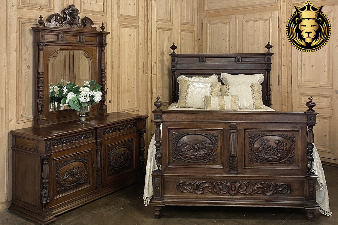 Olivia Antique Style Hand Carved Queen Bed online in India