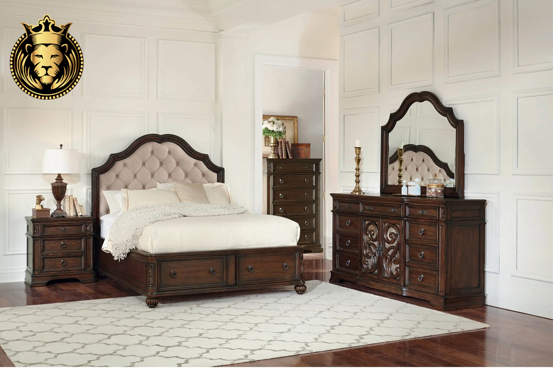Teak Wood Rustic Finish Antique Bedroom Set 1