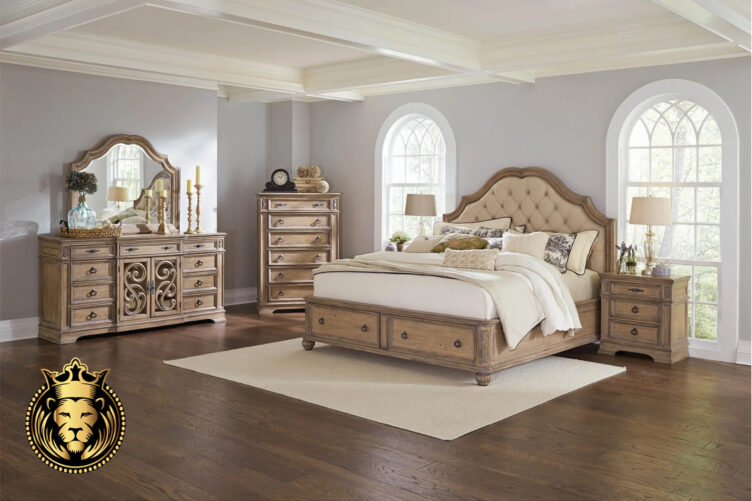 Teak Wood Rustic Finish Antique Bedroom Set