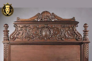 intricate carving Teak Wood High Headboard Bed