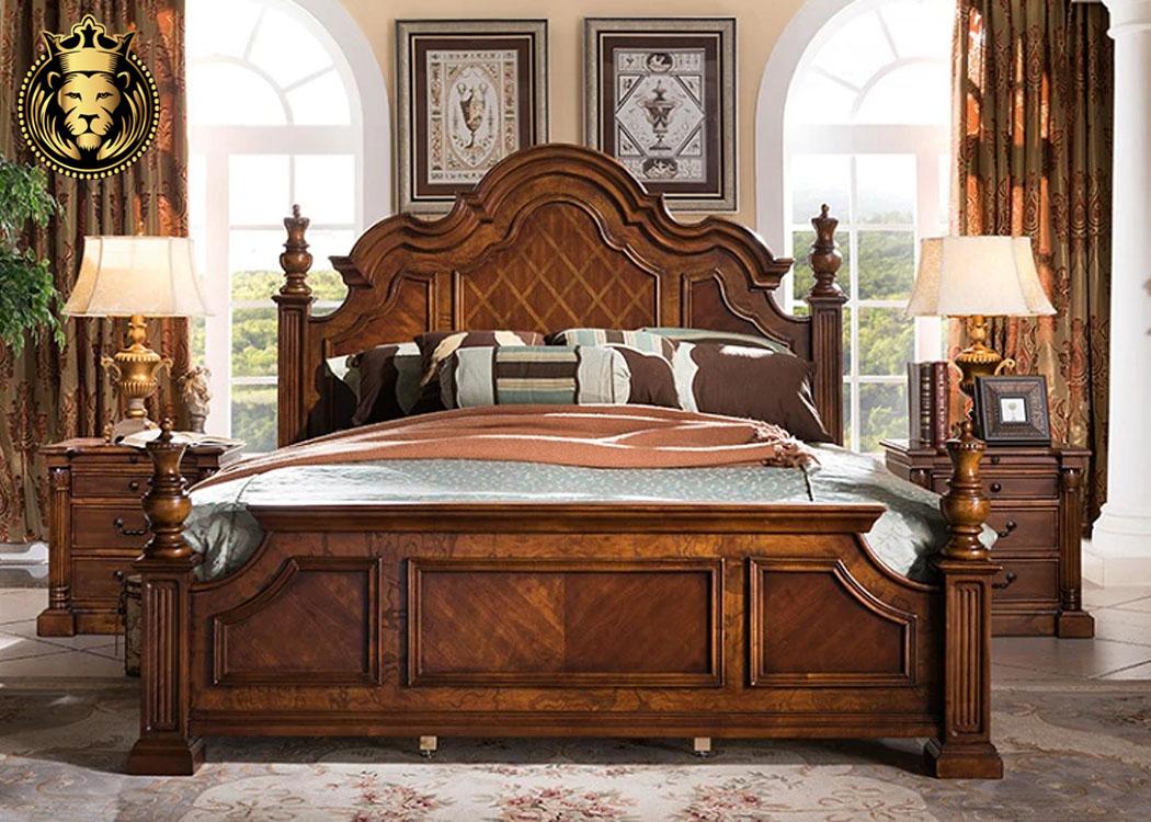 Amer Fort Antique Style Teak Wood Bed Design Brand Royalzig