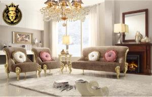 Amer Fort Modern Luxury Royal Golden Sofa Set