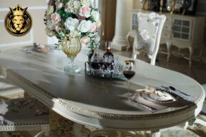 American Vintage Style Dark White Dining Table
