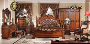 Antique European Style Four Poster Cherry Bedroom Set