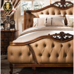 Monica French Style Cherry Color Teak Wood Bed