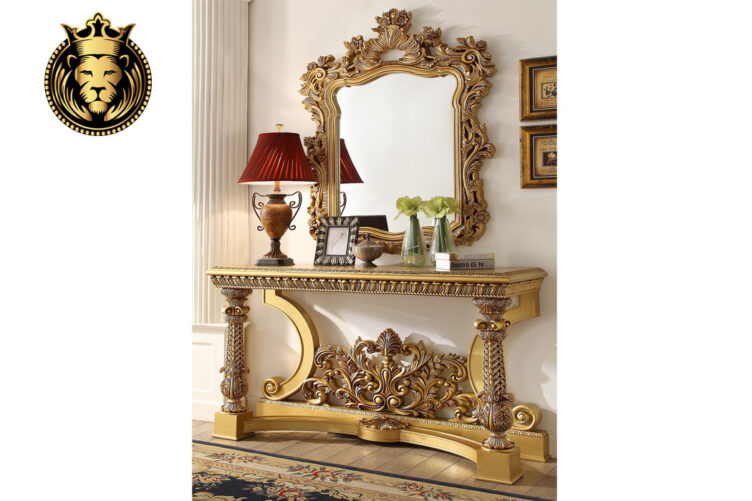 Antique Gold Royal hand Carved Dressing With Mirror Frame