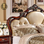 Antique Style Walnut And Silver Color Carved Bed Online