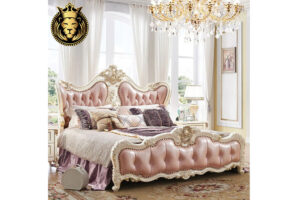 Beautiful Rose Carving Light Pink Upholstery Luxury Bed