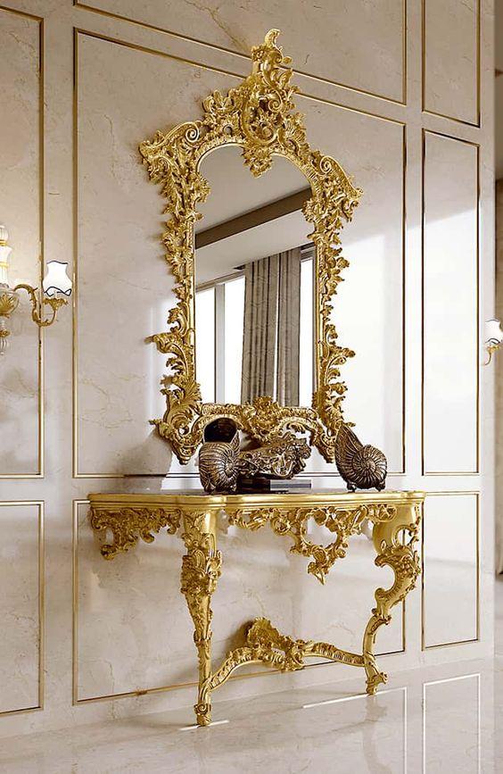High end Luxury Mirror Frame & Console EntryWay decoration Ideas