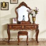 European Antique Style Teak Wood Bedroom Set Furniture