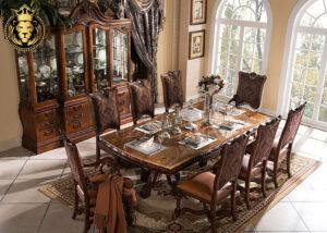 European Antique Style Walnut Finish Dining Table
