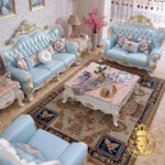 European Style Ocean Blue Fabric Hand Carved Sofa Set