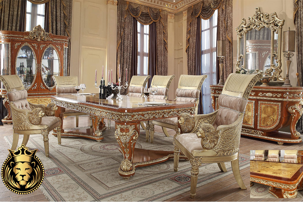 Golden European Style Collection Dining, European Dining Room Set