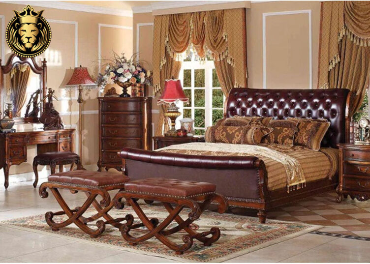 Gwalior Fort Antique Style Sleigh Bedroom Furniture